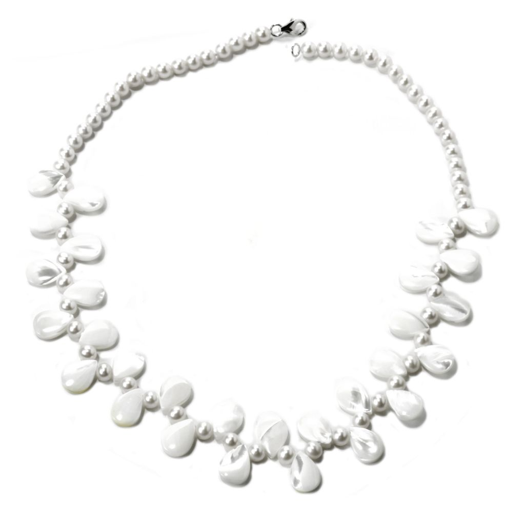 "135-577 - Sterling Silver 5-6mm Freshwater Cultured Pearl & Mother-of-Pearl 20"" Necklace"