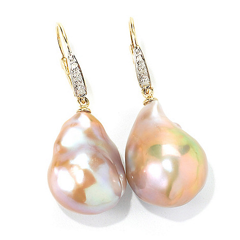 135-578 - 14K Gold 12-14mm Baroque Freshwater Cultured Pearl & Diamond 1.25'' Drop Earrings