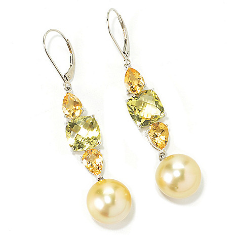 135-581 - Sterling Silver 13-14mm South Sea Cultured Pearl, Quartz & Citrine 2.5'' Dangle Earrings