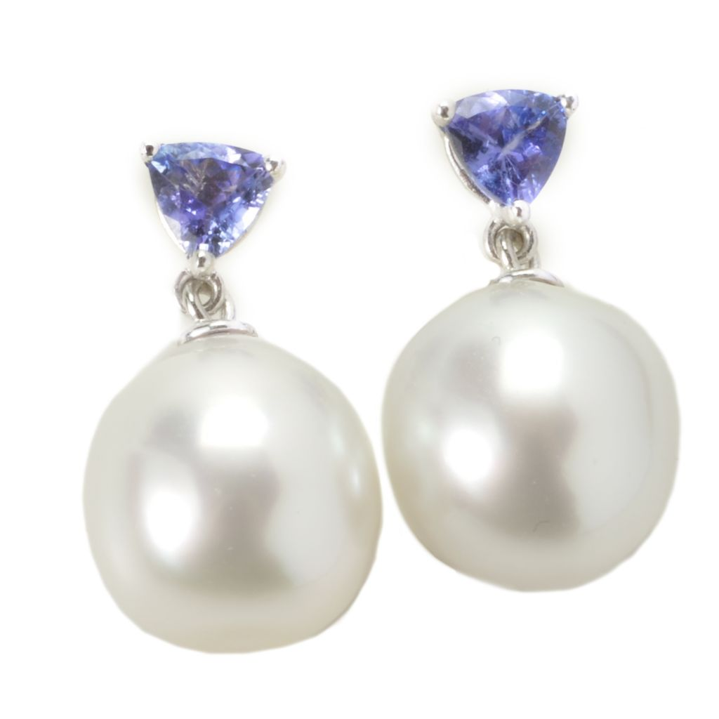 135-582 - Sterling Silver 11-12mm White South Sea Cultured Pearl & Tanzanite Drop Earrings