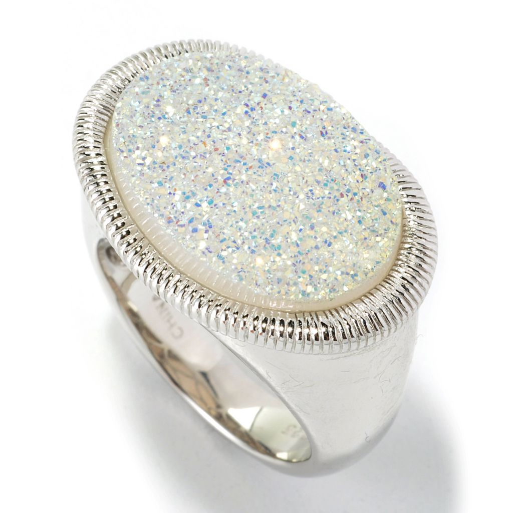 135-583 - Gem Insider Sterling Silver 18 x 13mm Snow Opal Drusy Etched Ring