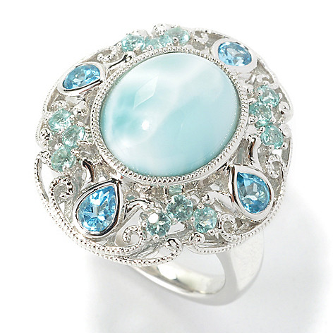 135-584 - Gem Insider Sterling Silver 12 x 10mm Larimar, Swiss Blue Topaz & Blue Apatite Ring