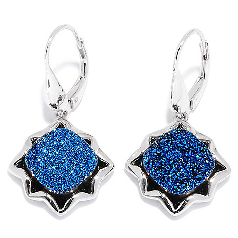 135-585 - Gem Insider™ 1.25'' Sterling Silver 10 x 10mm Drusy Starburst Drop Earrings
