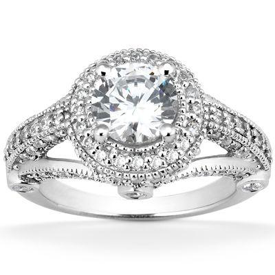 135-588 - Forever Brilliant® Moissanite 14K Gold 1.31 DEW Diamond Fancy Halo Engagement Ring