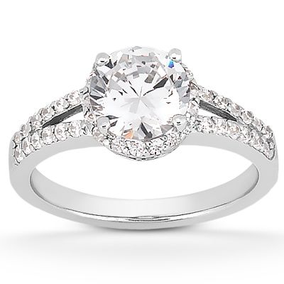135-590 - Forever Brilliant® Moissanite 14K Gold 1.41 DEW Split Shank Halo Engagement Ring