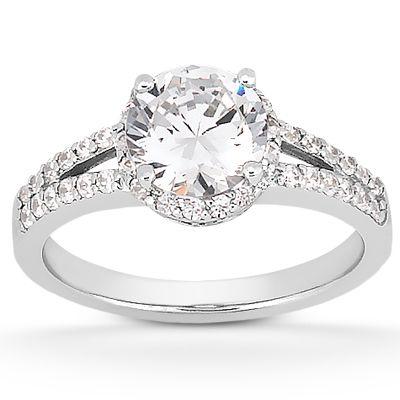 135-590 - Forever Brilliant® Moissanite 14K Gold 1.41 DEW Split Shank Halo Engagement Ring