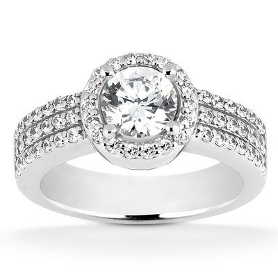 135-592 - Forever Brilliant® Moissanite 14K Gold 2.12 DEW Wide Shank Halo Engagement Ring