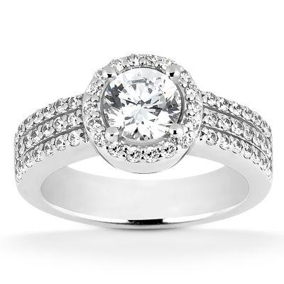 135-592 - Forever Brilliant® Moissanite 14K Gold 2.12 DEW Wide Shank Halo Engagement Ring