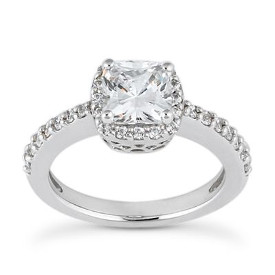 135-594 - Forever Brilliant® Moissanite 14K Gold 1.51 DEW Classic Cushion Halo Engagement Ring