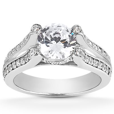 135-598 - Forever Brilliant® Moissanite 14K Gold 1.21 DEW Split Shank Fancy Engagement Ring