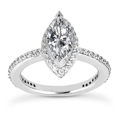 135-604 - Forever Brilliant® Moissanite 14K Gold 1.65 DEW Marquise Halo Engagement Ring