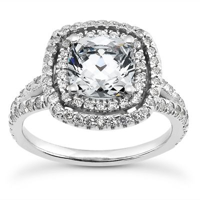135-606 - Forever Brilliant® Moissanite 14K Gold 1.76 DEW Double Halo Engagement Ring