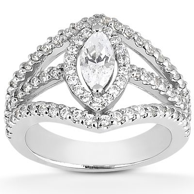 135-608 - Forever Brilliant® Moissanite 14K Gold 1.68 DEW Triple Split Halo Engagement Ring