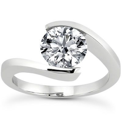 135-611 - Forever Brilliant® Moissanite 14K Gold 1.90 DEW Half Bezel Set Solitaire Engagement Ring