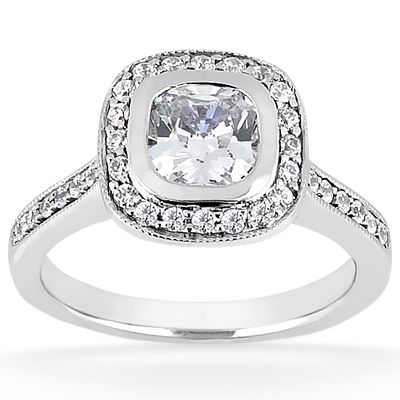 135-614 - Forever Brilliant® Moissanite 14K Gold 1.1 DEW Diamond Halo Engagement Ring