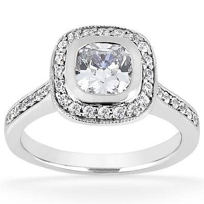 135-614 - Forever Brilliant® Moissanite 14K Gold 1.1 DEW Diamond Halo Engagement Ring