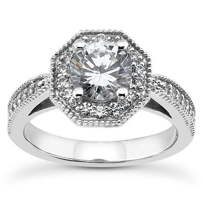 135-616 - Forever Brilliant® Moissanite 14K Gold 1.10 DEW Classic Round Cut Halo Engagement Ring