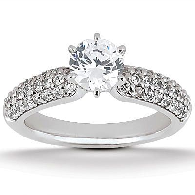 135-618 - Forever Brilliant® Moissanite 14K Gold 2.10 DEW Round Cut Pave Engagement Ring