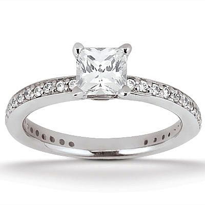 135-624 - Forever Brilliant® Moissanite 14K Gold 1.14 DEW Classic Square Cut Engagement Ring
