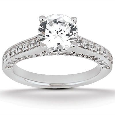 135-627 - Forever Brilliant® Moissanite 14K Gold 1.10 DEW Classic Round Cut Engagement Ring