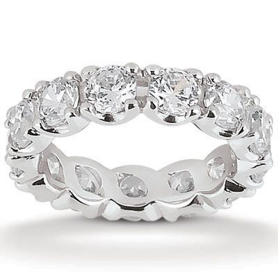 135-634 - Forever Brilliant® Moissanite 14K Gold 4.20 DEW Round Cut Double Prong Set Eternity Wedding Band