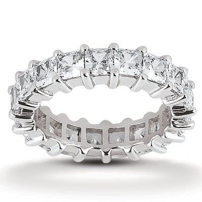 135-636 - Forever Brilliant® Moissanite 14K Gold 3.23 DEW Princess Cut Prong Set Eternity Wedding Band