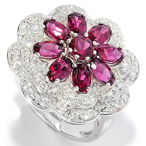 135-640 - Gem Insider Sterling Silver 3.00ctw Rhodolite Garnet & White Zircon Flower Ring