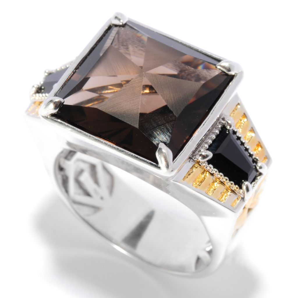 135-641 - Men's en Vogue II 12.12ctw Square Frosted Smoky Quartz & Black Spinel Ring