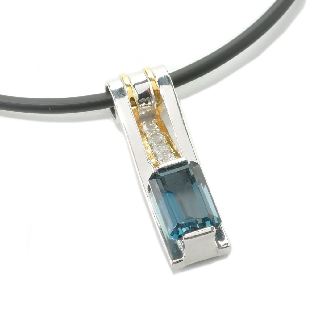135-642 - Men's en Vogue II 9.51ctw London Blue Topaz & White Topaz Pendant w/ Cord