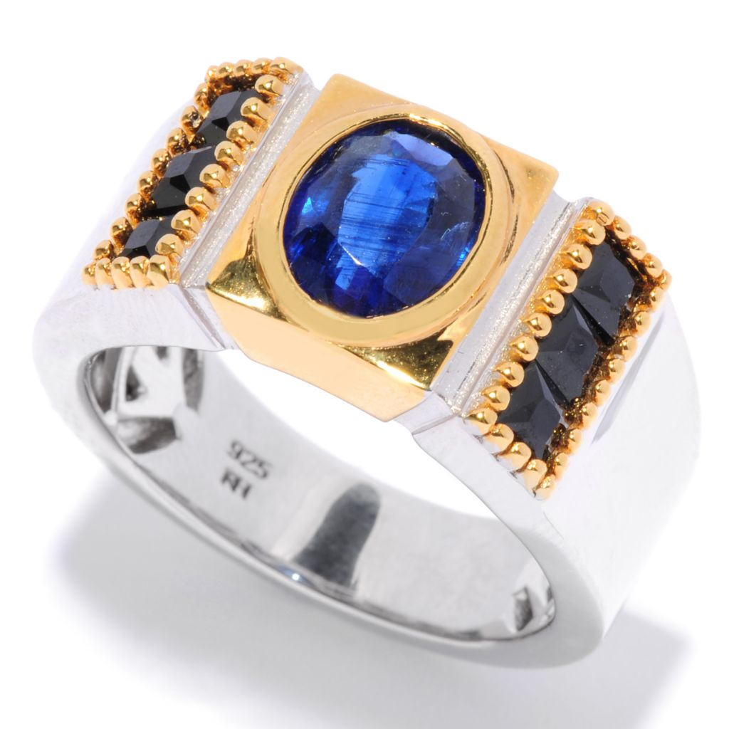 135-643 - Men's en Vogue II 3.55ctw Oval Kyanite & Black Spinel Ring