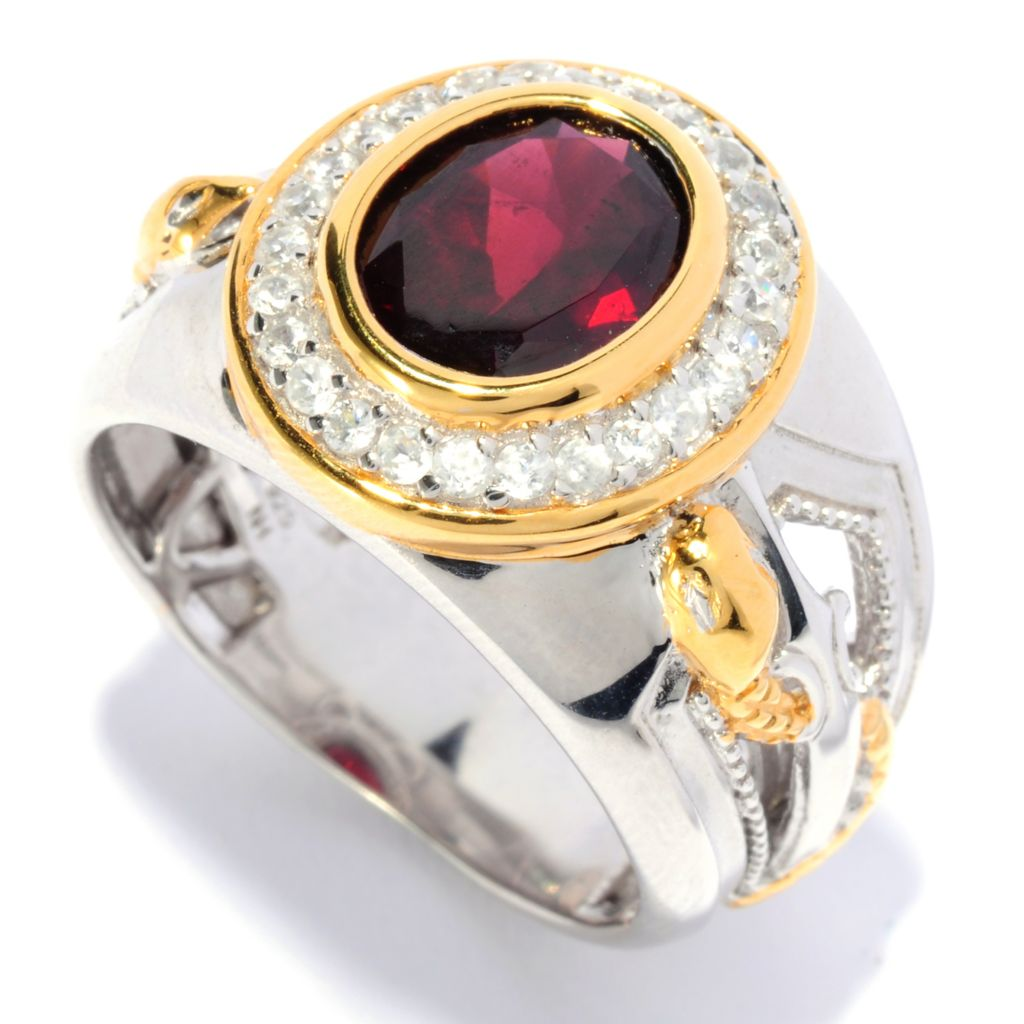 135-644 - Men's en Vogue II 3.52ctw Rhodolite Garnet & White Zircon Snake Shank Ring