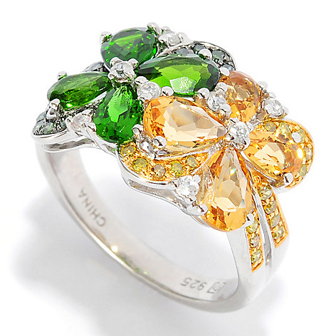 135-647 - NYC II 2.18ctw Multi Gemstone & Fancy Diamond Flower Band Ring