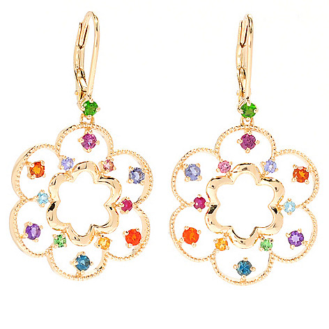 135-649 - NYC II 1.5'' 1.13ctw Multi Gemstone Flower Drop Earrings