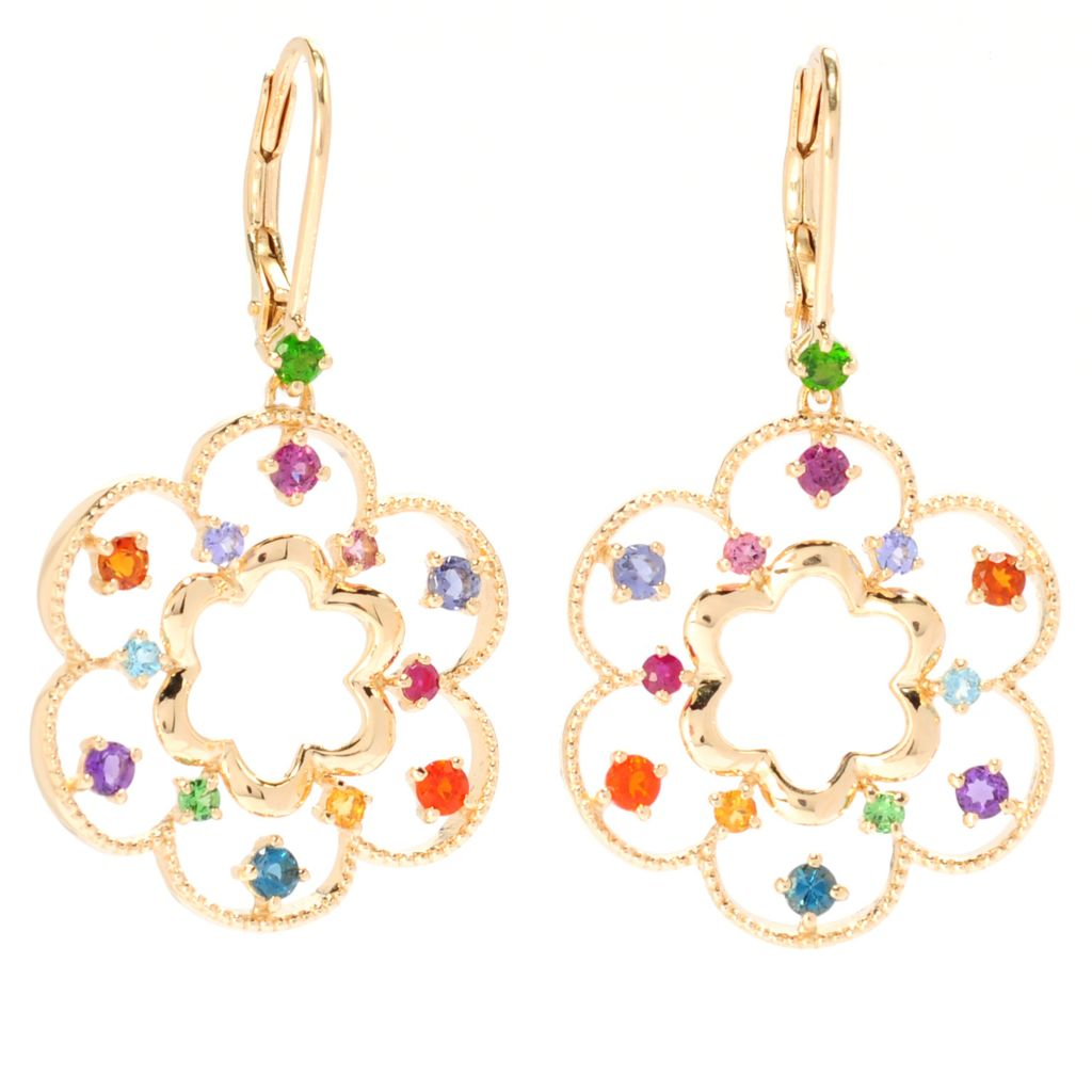 "135-649 - NYC II 1.5"" 1.13ctw Multi Gemstone Flower Drop Earrings"