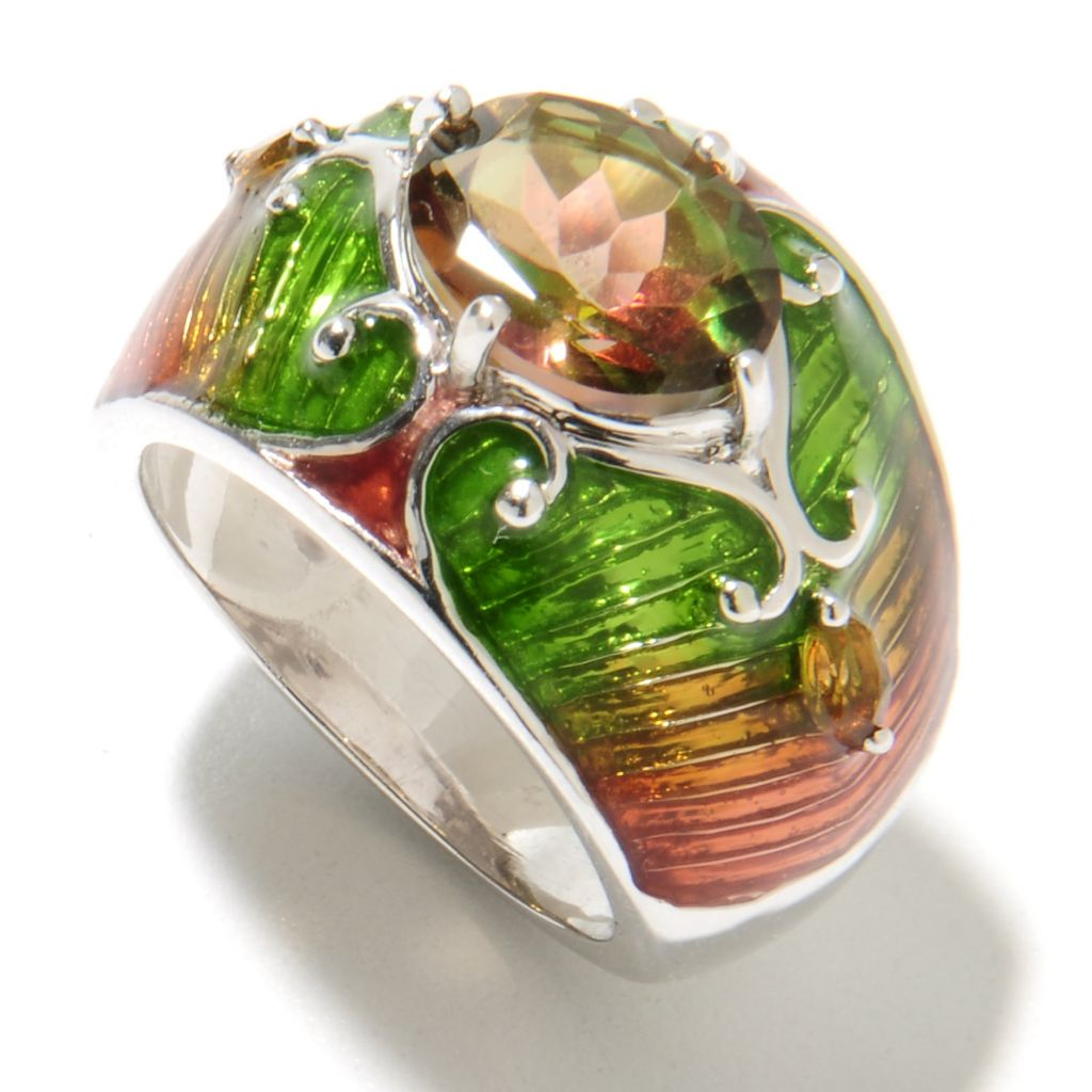 135-650 - NYC II 2.51ctw Mango Quartz & Citrine Multi Color Enamel Ring