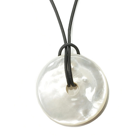 135-656 - 24'' 30mm White Donut Shaped Mother-of-Pearl Pendant w/ Black Leather Cord