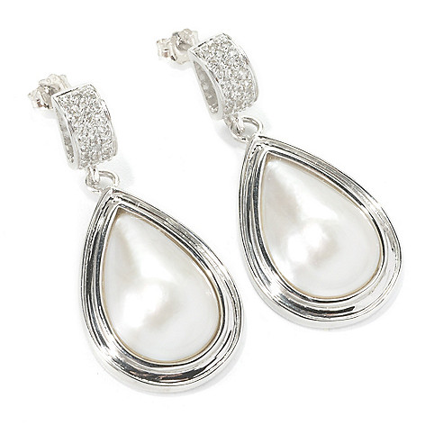 135-657 - Sterling Silver 12mm White Mabe Cultured Pearl & White Topaz 1.5'' Drop Earrings