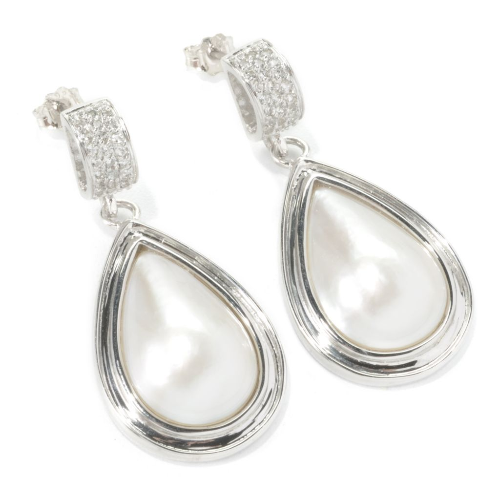 "135-657 - Sterling Silver 12mm White Mabe Cultured Pearl & White Topaz 1.5"" Drop Earrings"