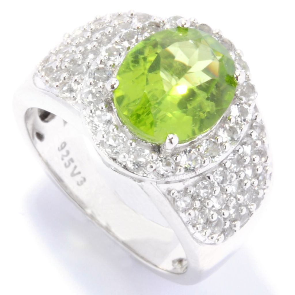 135-659 - Gem Insider Sterling Silver 4.06ctw Peridot & White Topaz Halo Ring