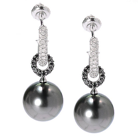 135-661 - 14K White Gold 1.25'' 13-14mm Tahitian Cultured Pearl & Diamond C-Hoop Earrings