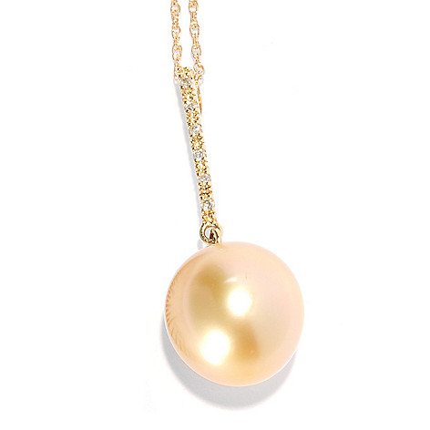 "135-665 - 14K Gold 13-14mm Golden South Sea Cultured Pearl & Diamond Pendant w/ 18"" Chain"