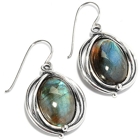 135-667 - Passage to Israel Sterling Silver 1.5'' 18 x 13mm Oval Gemstone Drop Earrings