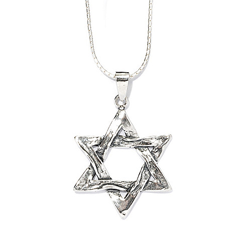 135-675 - Passage to Israel Sterling Silver 18'' Textured Star of David Necklace
