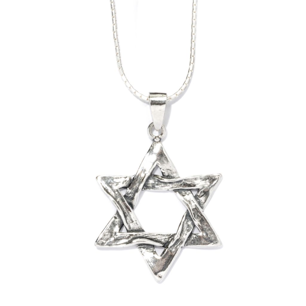 "135-675 - Passage to Israel Sterling Silver 18"" Textured Star of David Necklace"
