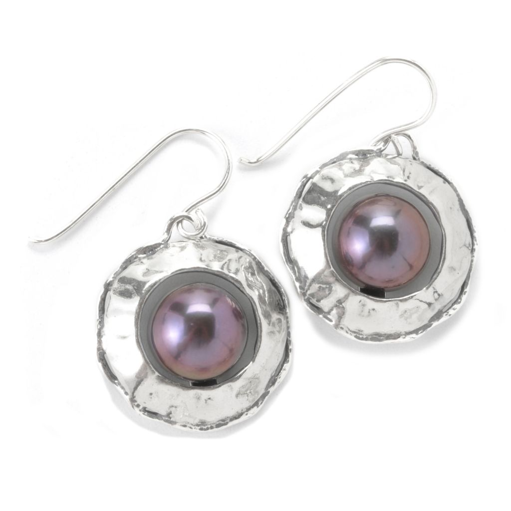 "135-681 - Passage to Israel Sterling Silver 1.25"" 10.5-11mm Freshwater Cultured Pearl Hammered Earrings"