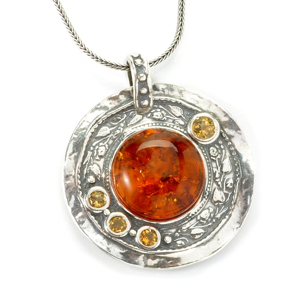 135-684 - Passage to Israel Sterling Silver 16mm Amber & Citrine Medallion Pendant w/ Chain