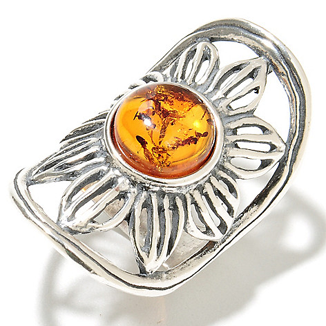 135-687 - Passage to Israel Sterling Silver 10mm Amber Elongated Flower Ring