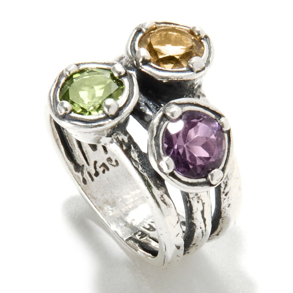 135-690 - Passage to Israel Sterling Silver 2.18ctw Amethyst, Peridot & Citrine Split Shank Ring