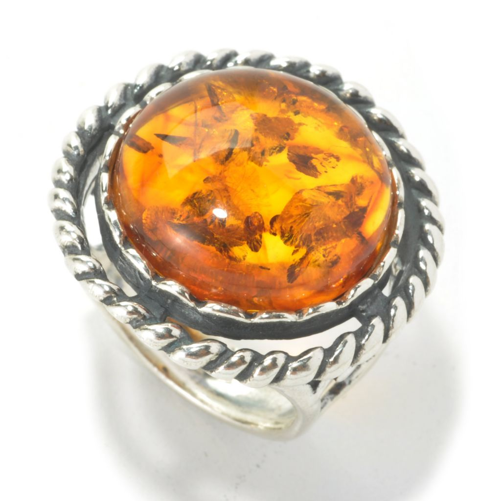 135-692 - Passage to Israel Sterling Silver 16mm Round Amber Rope Textured Ring