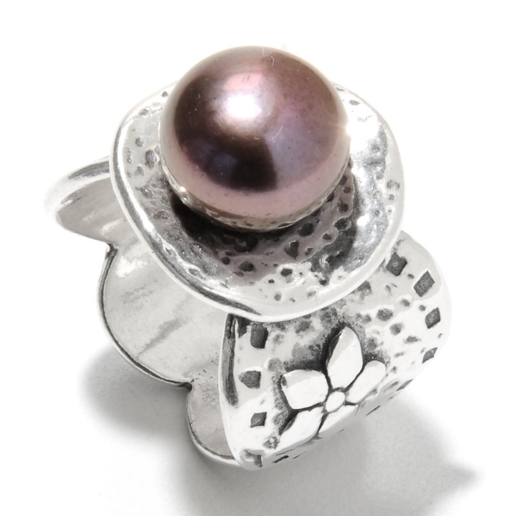 135-695 - Passage to Israel Sterling Silver 10mm Freshwater Cultured Pearl Textured Disk Ring